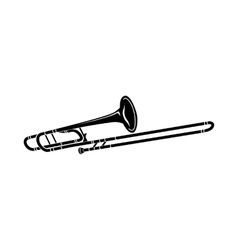 Trombone music instrument icon black simple style vector