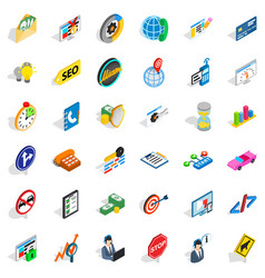 Usable icons set isometric style vector