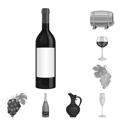 wine products monochrome icons in set collection vector image