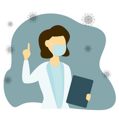 Woman doctor wearing protective mask flat vector