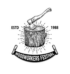 Woodworkers festival lumberjack ax vector