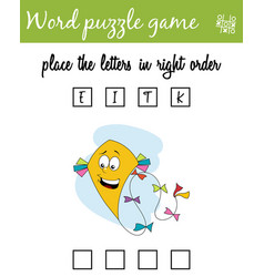 Words puzzle game with kite place the letters in vector