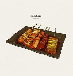 Yakitori skewers a hand drawn japanese food vector