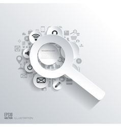 Zoom in loupe icon flat abstract background vector