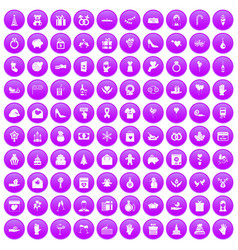 100 gift icons set purple vector image vector image