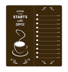 Coffee card with coffee cup on brown background vector image vector image