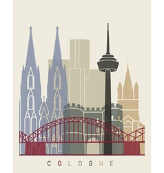 Cologne skyline poster vector image