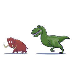 hand drawn cartoon tyrannosaur chasing mammoth vector image