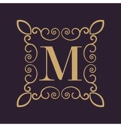 Monogram letter M Calligraphic ornament Gold vector image vector image