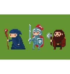 Pixel art style wizard knight and vector image vector image