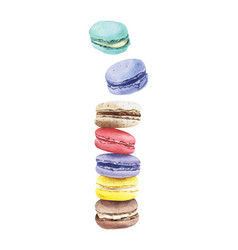 stack of colorful watercolor macaroon cakes vector image vector image