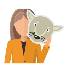 Woman character in jacket with wolf mask in hand vector