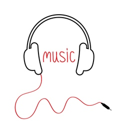 Contour black headphones with cord and red word vector image vector image