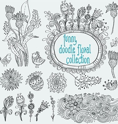 Doodle floral collection vector image vector image