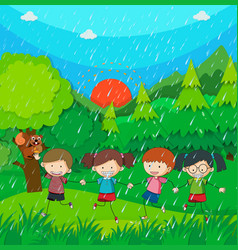 raining scene with kids in the park vector image vector image