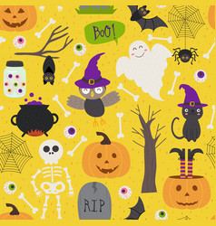 seamless pattern with halloween elements on yellow vector image