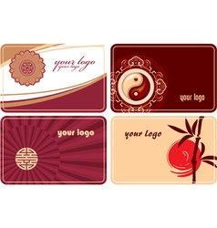 set of cards with oriental design vector image