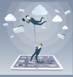 Business man hold colleague flying in sky using vector