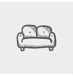 Furniture sofa sketch icon vector image