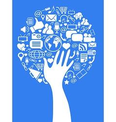 hand social media tree vector image