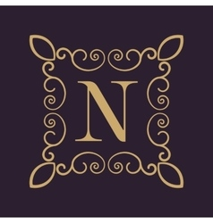 Monogram letter N Calligraphic ornament Gold vector image vector image