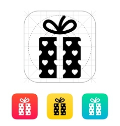 Gift box with hearts icons on white background vector image