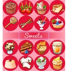 Great set of sweets and pastries vector image