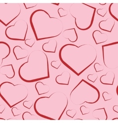 Seamless pattern with red hearts on pink vector image