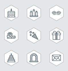 set of 9 new year icons includes arch wax vector image