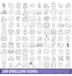 100 dwelling icons set outline style vector image