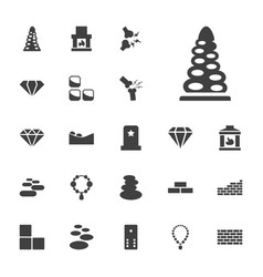 22 stone icons vector image