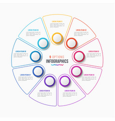 9 parts infographic design circle chart vector