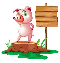 A pig above a stump near the empty signage vector