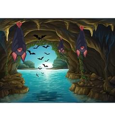 Bats living in the dark cave vector
