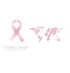 Breast cancer awareness pink ribbon and grunge map vector image