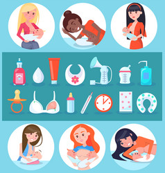 breastfeeding and children set vector image