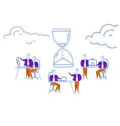 business people hardworking deadline time vector image