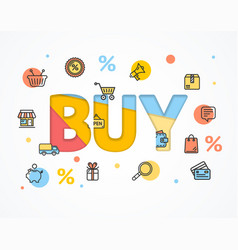 Buy concept icon flat and paper art vector