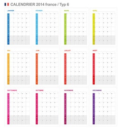 Calendar 2014 French Type 6 vector image