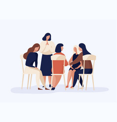 cartoon female sitting together in circle talking vector image