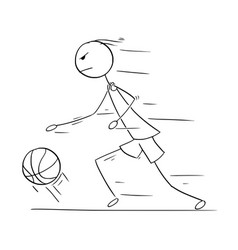 cartoon of basketball player running and vector image