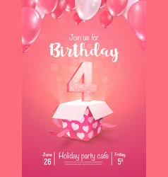 Celebrating 4 years birthday 3d vector