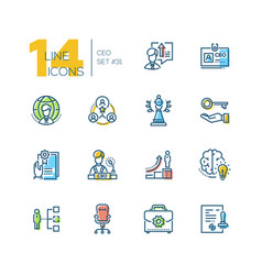 ceo - set of line design style icons vector image