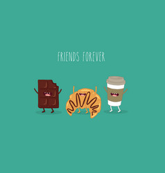 chokolate croissant and coffee friends vector image