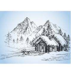 Christmas background house in the snow landscape vector