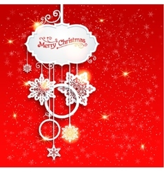 Christmas decoration on red background vector image