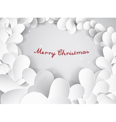 Christmas silver background with leafs and Merry vector