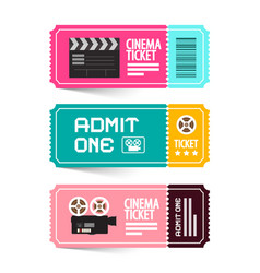 Cinema ticket admit one movie flat design tickets vector