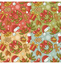 Collection of Christmas retro seamless patterns vector image vector image