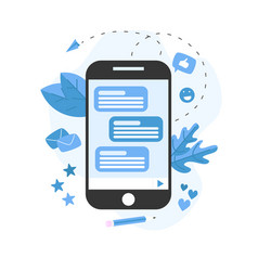 communication in online chat with smartphone vector image